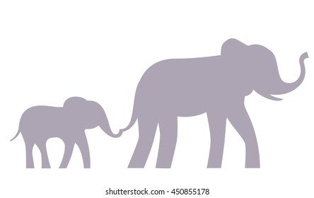 Elephant mother and baby walking together. Baby keeps mother's tail. Vector illustration.