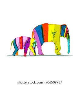 Elephant mother with child, striped sketch for your design