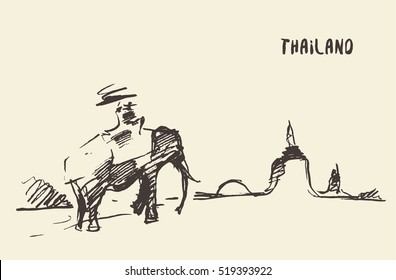 Elephant on an ride tour near the temple. Thailand vector illustration, sketch