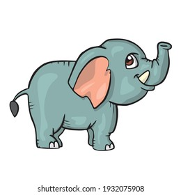 Elephant on white background Cute Cartoon animal Vector illustration