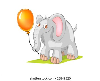 elephant with orange ball on grass