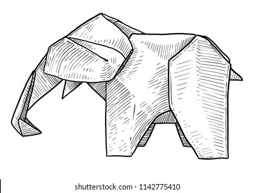 Elephant origami illustration, drawing, engraving, ink, line art, vector