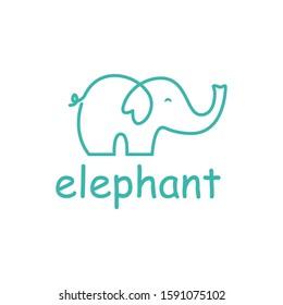Elephant outline logo, simple vector illustration of the elephant. Elegant one line lucky elephant for children ur business usage.