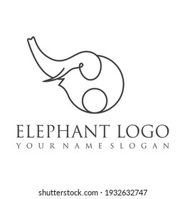 Elephant outline logo, simple vector illustration of the elephant. Elegant one line lucky elephant for children ur business usage. Outlined baby elephant, wildlife or zoo.