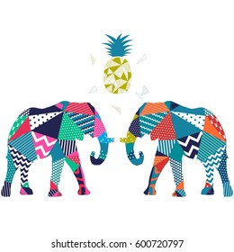 Elephant pattern vector illustration.
