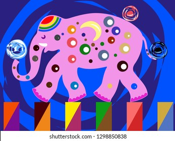 The elephant is pink. Cheerful cartoon. Performance at the circus arena
