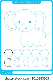 Elephant. Preschool worksheet for practicing fine motor skills - tracing dashed lines. Tracing Worksheet.  Illustration and vector outline - A4 paper ready to print.