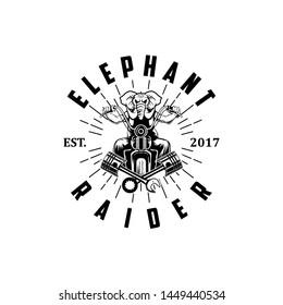 Elephant raider logo vector illustration