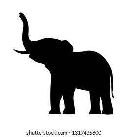 elephant with raised trunk,vector illustration