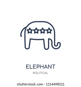 Elephant republican linear symbol icon. Elephant republican symbol symbol design from Political collection. Simple outline element vector illustration on white background.