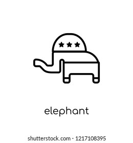 elephant republican symbol icon. Trendy modern flat linear vector elephant republican symbol icon on white background from thin line Political collection, outline vector illustration