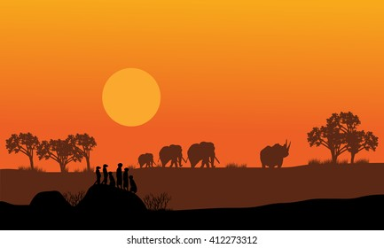 Elephant and rhino silhouette in hills scenery