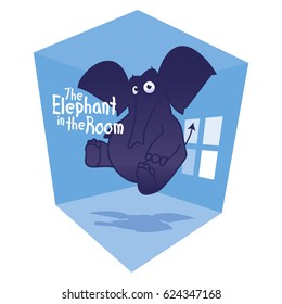 Elephant in the room. Vector cartoon illustration. Can be used for t-shirt print, print and web design.