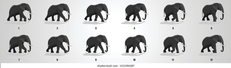 Elephant run cycle animation sequence, animation frames