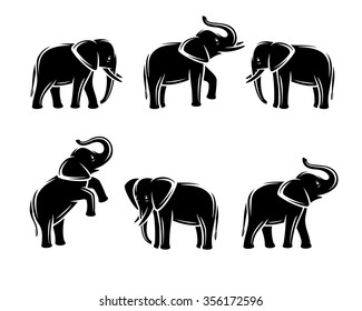 Elephant set. Vector