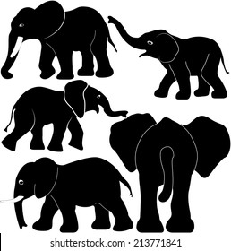 Elephant set vector silhouette