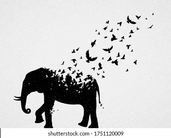 Elephant silhouette, flying birds. Endangered animal. Life and death. Wildlife protection concept. Metaphor black and white art poster. Vector illustration for prints, t-shirts