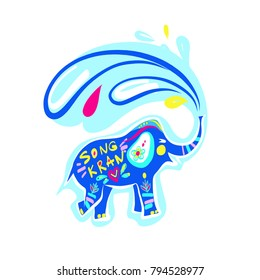 Elephant silhouette with water splash and drop. Template flyer traditional thai new year day. Thailand festival happy songkran.