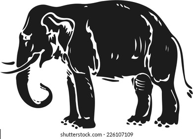 Elephant silhouette in woodcut style.