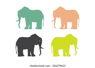 Elephant silhouettes. Elephant icons. Logo element. Vector symbol. Isolated on white background.