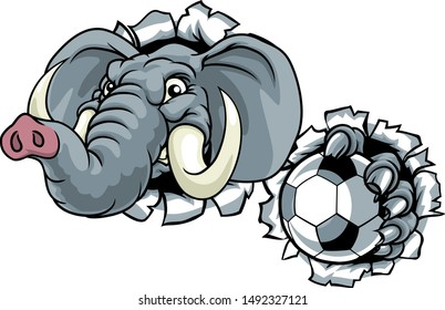An elephant soccer football sports animal mascot holding a ball and breaking through the background