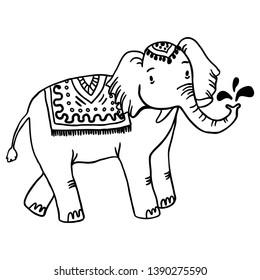 Elephant splashing water vector illustration