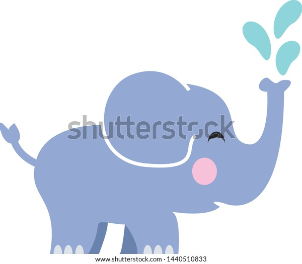 Elephant spraying water from his trunk
