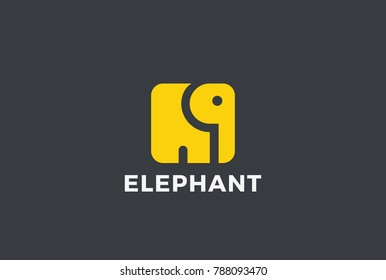Elephant square shape Logo abstract design vector template. Animal Logotype concept icon.