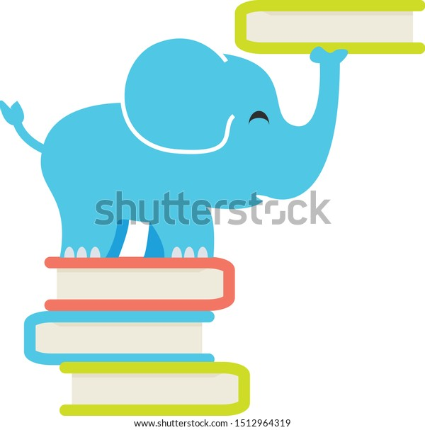 Elephant standing on books and balancing one on trunk