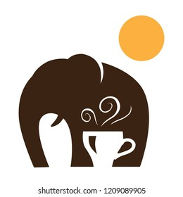 elephant, sun and cup of coffee, negative space logo icon