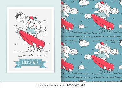 elephant surfing illustration doodle and seamless pattern background