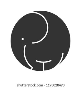 Elephant symbol icon wild animal black silhouette logo template. Vector illustration.