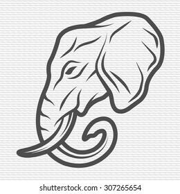 Elephant symbol, logo, emblem. Contour Design.