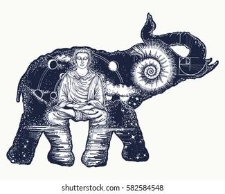 Elephant tattoo art. Symbol of spirituality, meditation, yoga, traveling. Buddha, ammonite, mountains. Magic elephant double exposure animals sacral style t-shirt design
