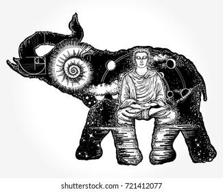Elephant tattoo art. Symbol of spirituality, meditation, yoga, traveling. Buddha, ammonite, mountains