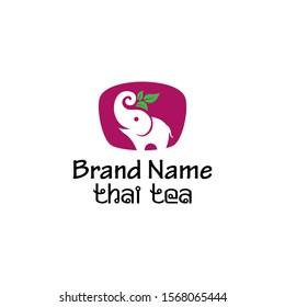 Elephant Thai Tea Logo Design Vector