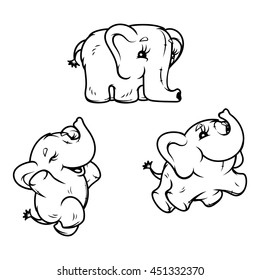 Elephant in three poses. line art