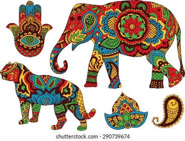 elephant, tiger, Butt and lotus, hand-painted in the style of mehendi