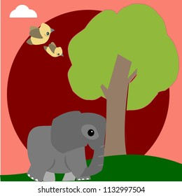 Elephant Trying To Uproot A Tree Vector Illustration