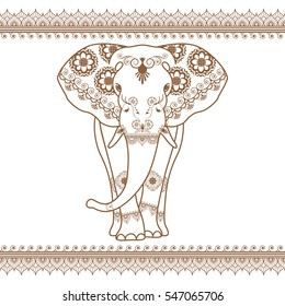 Elephant vector with border brown elements in ethnic mehndi style. Frontal henna elephant's illustration isolated on white background