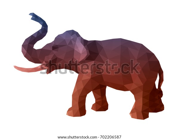 Elephant, a vector elephant illustration designed with colorful low poly triangular