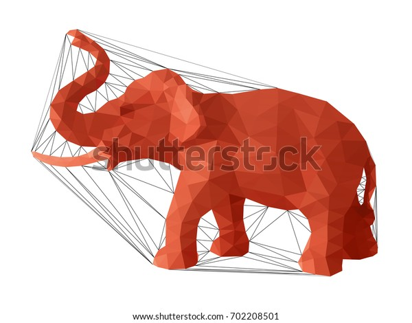 Elephant, a vector elephant illustration designed with colorful low poly triangular outlines