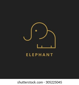 elephant vector logo line art illustration memory icon