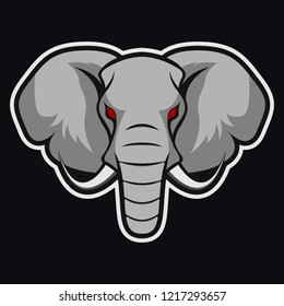 Elephant vector mascot. African elephant head. Emblem for the sports team.Safari hunting, elephant Tusk. Vector sign for Africa hunting sport.
