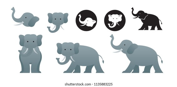 Elephant Vector Set, Front View, Side View, Silhouette