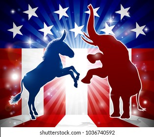 An elephant versus a donkey in silhouette with the American flag in the background democrat and republican political mascot animals