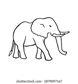 Elephant walking hand drawn outline illustration. Big adult mammal with fangs standing pen drawing silhouette symbol. Large animal form safari posing for tourists in nature profile black line sign.