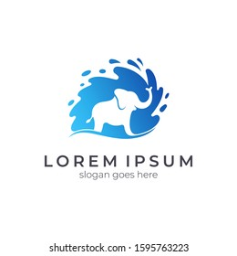 Elephant water splash logo design, animal silhouette vector logo