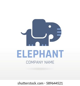 Elephant wild animal icon. Text lettering logo. Abstract template. Isolated white background, elegant flat vector illustration in blue color. Indian, African cute symbol silhouette. Zoo circus concept