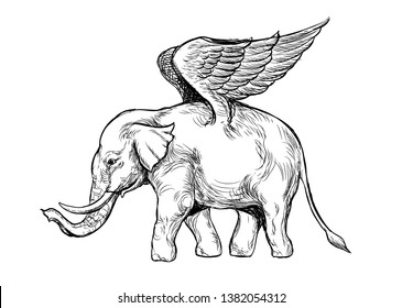 Elephant wings flying fancy digital line drawing illustration vector white background